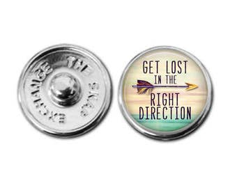 Get lost in the right direction Snap charm snap jewelry boho charm bohemian charm boho bracelet charm bracelet interchangeable jewelry