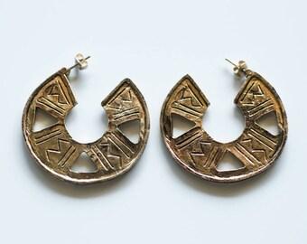 Tribal earrings, large earrings, brass earrings, Aztec earrings, round earrings, gold earrings