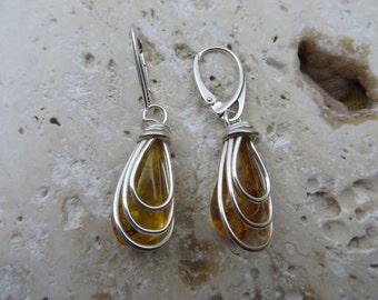 Fantastic Baltic Amber Earrings in Sterling Silver