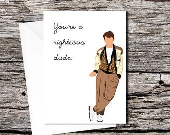 Ferris Bueller high quality greetings card (A5 folds to A6, or A4 folds to A5)
