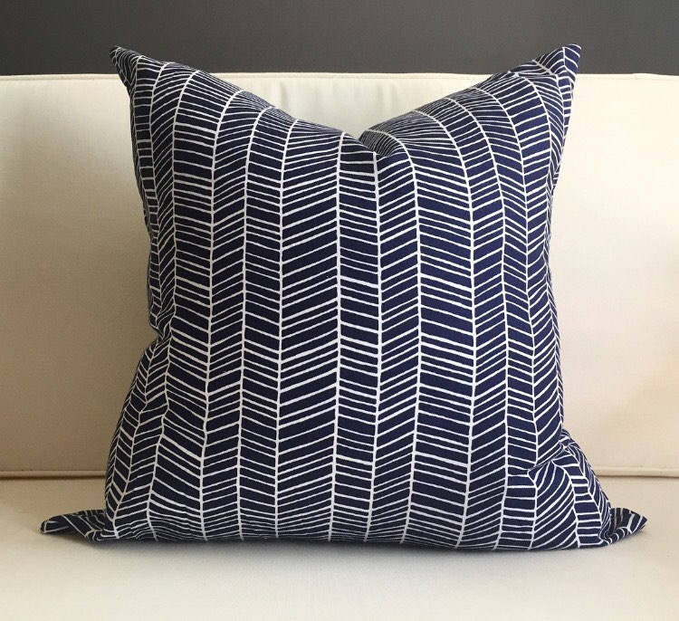 pillow cover navy blue and white herringbone pillow cover. Black Bedroom Furniture Sets. Home Design Ideas