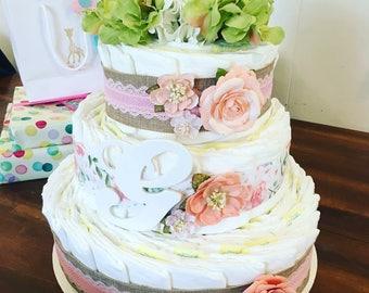 Shabby Chic Diaper Cake (3-tier)