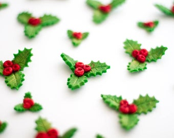 12 x Edible holly and sparkling berries fondant cupcake toppers