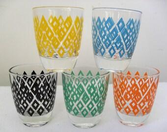 Shot Glasses RETRO KITSCH Shot Glasses Set of FIVE Glasses Colourful Shot Glasses 1950s Shot Glasses Party Glasses Home Bar Accessory