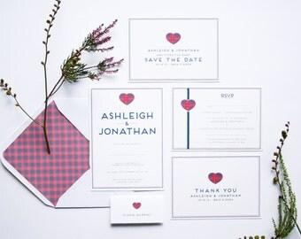 Tartan Wedding Invitation Set. Modern Wedding Invites. Scottish Wedding Invitations. Wedding Invitation Sample