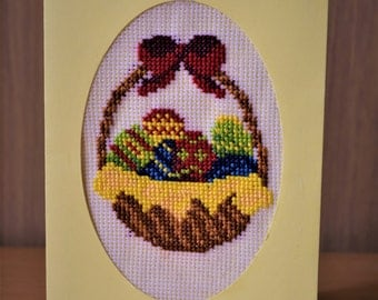 Embroidered Easter greeting card
