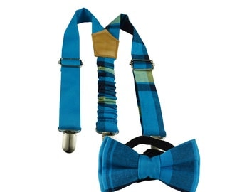 blue boys bow tie and suspenders, blue wedding, ringbearer, blue suspenders, baby syspenders, madras bow and suspenders, family photos