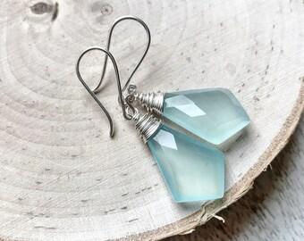 Icy Blue Chalcedony Shield Earrings / Boho Gemstone Earrings / Blue Chalcedony Briolette Elongated Diamond Shaped Earrings
