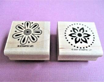 Set of 2 Images Stylized Flowers Papercraft Rubber Stamps Wood Block Mounted Planner Goodie Scrapbooking Card Making DIY Invitations Crafts
