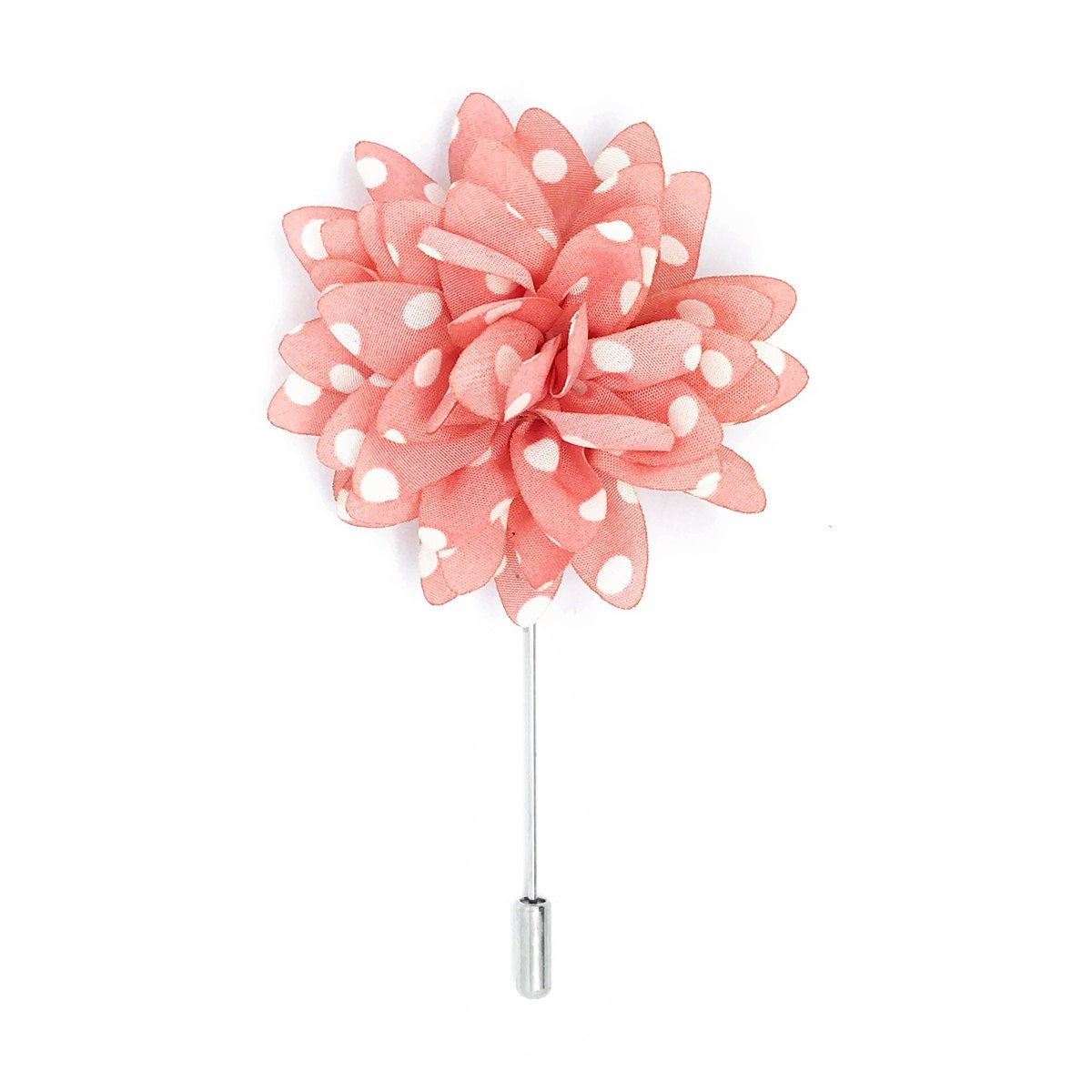 Men s Flower Lapel Pin Pink with White Polka Dots Silk