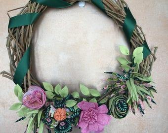 Bright Floral Wisteria Wreath