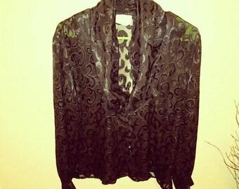 Size 14 vintage sheer black Tess top blouse