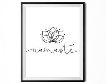 Namaste, Printable Art, Quote, Yoga, Minimalistic Print, Typography Print, Digital Print, Black And White, INSTANT DOWNLOAD