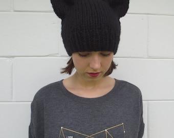 SALE - black cat ear beanie - knit cat ear beanie - neko hat - neko ears