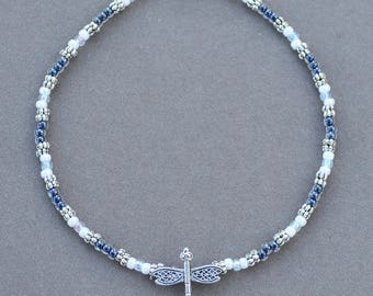 Dragonfly Anklet in Blue White and Silver