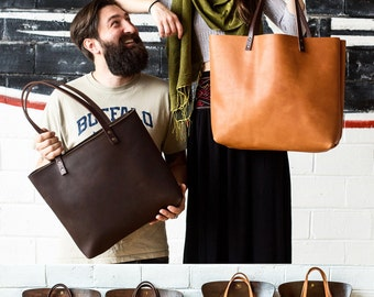 Leather Tote HUGE SALE  - Leather Bag Handmade in Portland, Full-Grain Cowhide- Award Winning Leather Tote Portland Leather Goods