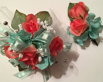 Homecoming Corsage, Prom Corsage, Mint Green and Coral Silk Prom Corsage