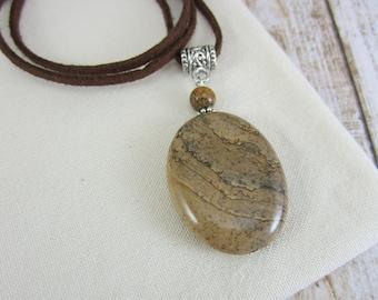 Brown Boho Necklace, Tan Jasper Necklace, Boho Tan Necklace, Picture Jasper, Gift for Boho Friend