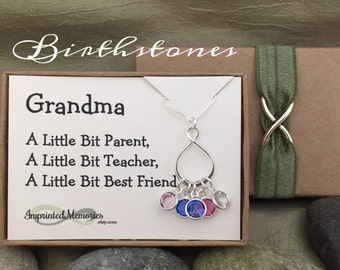 Gift for Grandma Gift from Grandkids Sterling Silver Birthstone Necklace Gift for Mom Grandma Necklace Grandchildren Mom 50th Birthday Gift