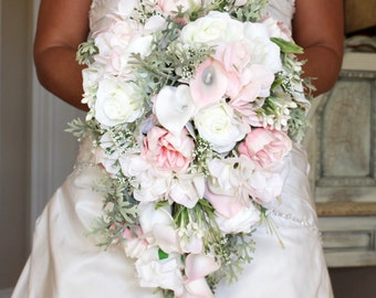 Pink Cascasing Wedding Bouquet , Pink Wedding Bouquet , Cascading Blush Pink Real to Touch Peonies Bridal Bouquet, Blush Pink and mint