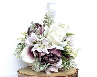 Purple Flower Girl Ball , Purple Kissing Ball , Flower Girl Bouquet , Purple Flower Girl Kissing Ball
