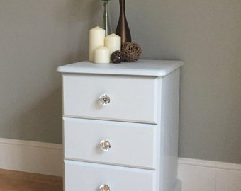 Pine Painted Bedside Table - Light Grey / Off White (delivery quote available on request)