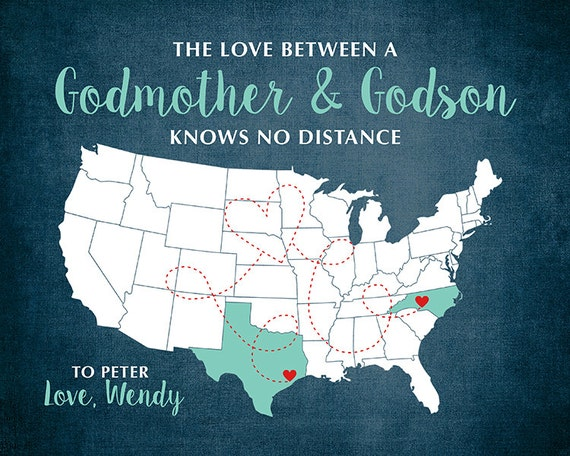 Godmother Gift Goddaughter Gift Long Distance Gift: Custom Maps Godson Godmother Gifts Aunt Godchild