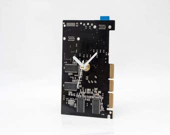 Circuit board Clock, Brown Desk Clock, Recycled Computer Parts Clock, Computer Desk Clock, Boyfriend Gift, Husband Gift, Father Geek Gift