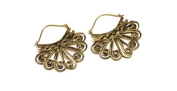 Tribal Hoop Earrings dots and swirls,  handmade, Brass, Tribal Earrings , Boho Earrings, Gift boxed, Free UK post BG11