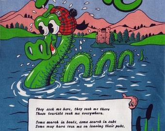 Vintage Loch Ness Monster Nessie Scotish Wish Tea Towels
