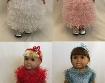 Holiday Evening Gowns, Knitting Patterns for 18 inch Dolls - Immediate Downloads - PDF - Fits American Girl Doll