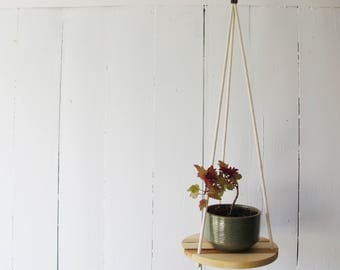 Wood & Cotton Hanging Planter SOLO 11'' - Hanging shelf - Hanging plant holder - Maple Wood - Hand Made in Canada -