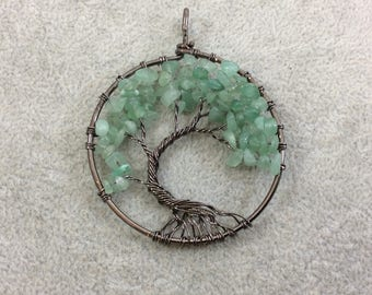 "2"" (50mm) Gunmetal Plated Copper Wire Wrapped Tree of Life Focal Pendant with Green Aventurine Chip Beads - Sold Individually/Random"