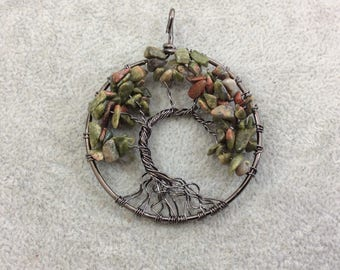 "2"" (50mm) Gunmetal Plated Copper Wire Wrapped Tree of Life Focal Pendant with Mixed Unakite Chip Beads - Sold Individually/Random"