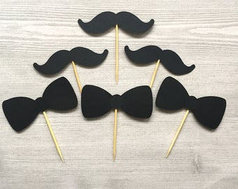 Set of 12 Black Bow Tie or Mustache Cupcake Toppers / Little Man Baby Shower / It's a Boy / Tuxedo / New Baby / Father's Day / Dad Birthday