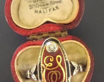 RESERVED for KV -E S Initials Ring in Silver & 18k Gold with Red and Black Enamel Old Mine Cut Diamonds