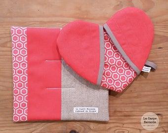 box potholders - coral - heart Potholder - Potholder/trivets