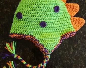 Crochet dinosaur hat, dinosaur beanie, dragon beanie, hat with spikes, newborn photos