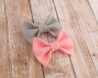 40+ Colors- Chunky Wool Felt Bow Clip or Headband / Felt Bow Headband / Felt Bow Clip / Newborn Headband / Baby Felt Hair Bow / Bow Headband