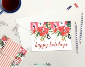 HOLIDAY CLEARANCE! Printed Floral Happy Holidays Card // Set of 4 // Set of 10 // Holiday Card Set // Christmas Card // Watercolor floral