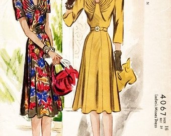 1940s 40s pattern misses women's day dress pleated bodice flounce skirt Bust 34 repro vintage sewing