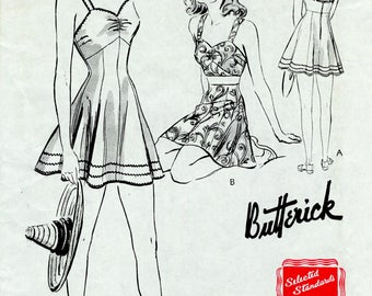 1940s 40s beachwear playsuit bra top skirt shorts vintage sewing pattern bust 34 reproduction