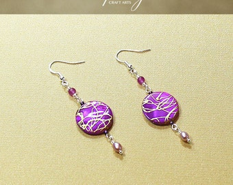 Gemstone Mother of Pearl Shell earrings, Agate earrings, Pearl Shell Dangle earrings,925 Sterling Silver hooks,InfinityCraftArts