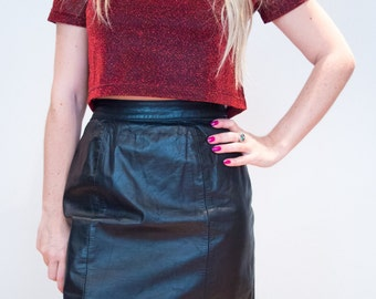 80's Black Leather Skirt