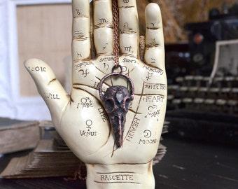 Crow SKULL with LABRADORITE drop, electroformed necklace, creepy pendant, electroplated galvanized, copper jewelry, morbid, bird skull