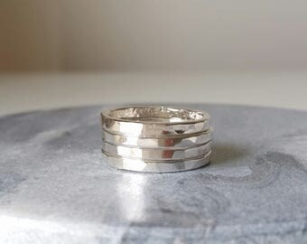 Sterling Silver rings - Stacking rings - Set of 4 - Flat hammered rings - Handmade.