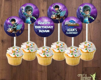 Miles from Tomorrowland Birthday Party Cupcake Toppers - Digital File Printable -Miles Print It Yourself - Cupcakes - Diameter about 2inches