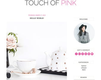 "Blogger Template Mobile Responsive - Instant Digital Download - Complete Blog Design -""Touch of Pink"""