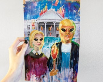 Digital Giclee Art Print /Hillary Trump American Gothic / 8 x 10 11 x 14 Acrylic Painting Print / Wall Art Decor