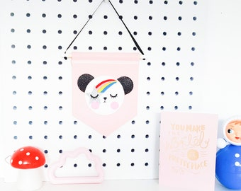 Noodle the starry eyed panda, mini banner, banner, mini banner - Blush